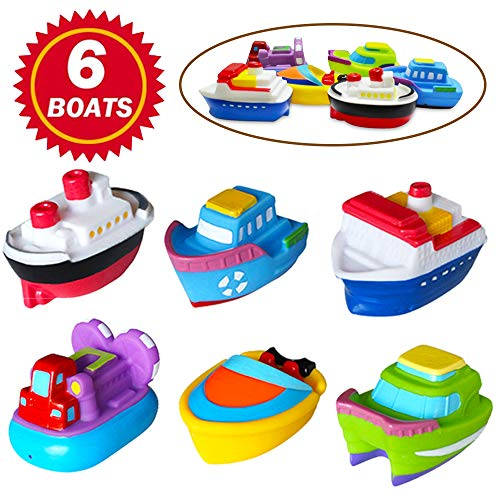 SIBOTER Boat Bath Toys for Boys and Girls Toddlers Kids Baby Bathtub Water Playing Floating Rubber Ship Toy for 1 Year Old, 2 Years, 3 Years (Play Boat For Kids)