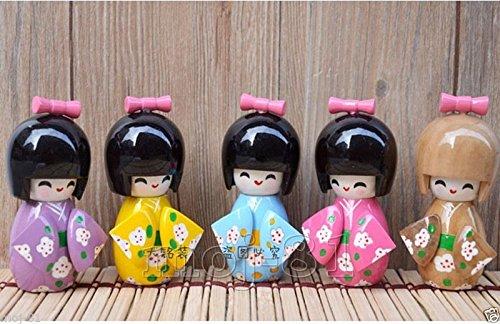 5pcs Mix Color Handmade Oriental Cute Japanese Creative Kokeshi Wooden Doll Girl - Kokeshi Style Doll