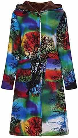 da7ee57b347d1 Womens Long Coats Duseedik Winter Warm Down Jackets Outwear Floral Print  Plaid Hooded Pockets Oversize Coats