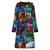 Womens Hoodie Long Coats Winter Warm Thick Outwear Casual Floral Print Button Pockets Oversize Vintage Jacket Ladysdress