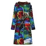 HHei_K Women Winter Vintage Floral Print Hooded Long Sleeve Button Long Jacket Casual Velvet Warm Long Trench Coat