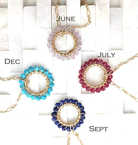 (Mother Daughter Birthstone Necklace set of 2)