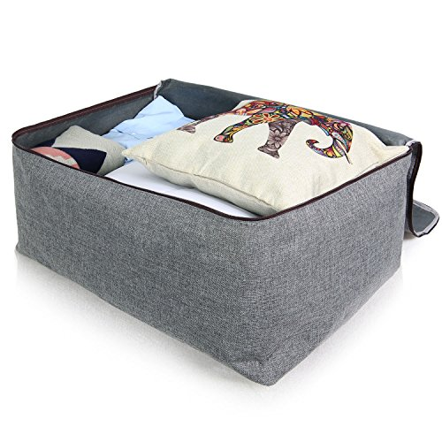 Lifewit Water Resistant Thick Large Capacity Storage Bag, Folding Linen Storage Organizer Bags, Under Bed Storage, College Carrying Bag for Bedding Comforters, Blanket, Clothes, 100L, Grey by Lifewit (Image #6)