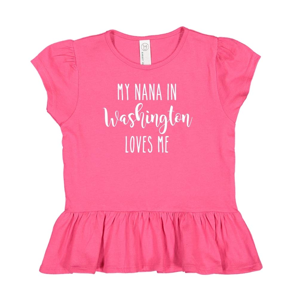 Toddler//Kids Ruffle T-Shirt My Nana in Washington Loves Me