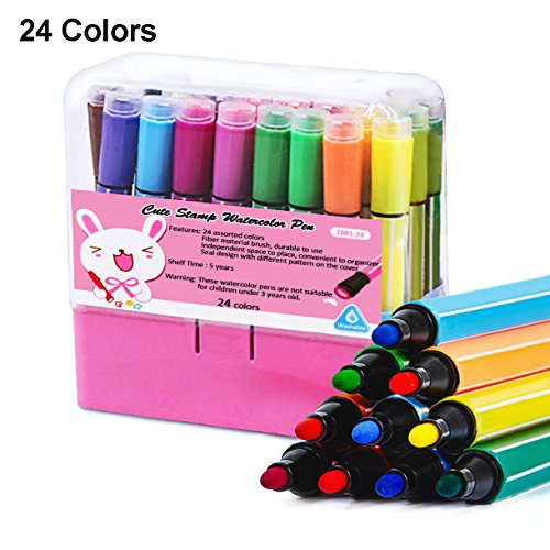 Hapree 24 Colors Watercolor Pen Set with Stamp Washable Non-Toxic Colored Marker Pens for Kids Coloring Drawing Doodling by Hapree