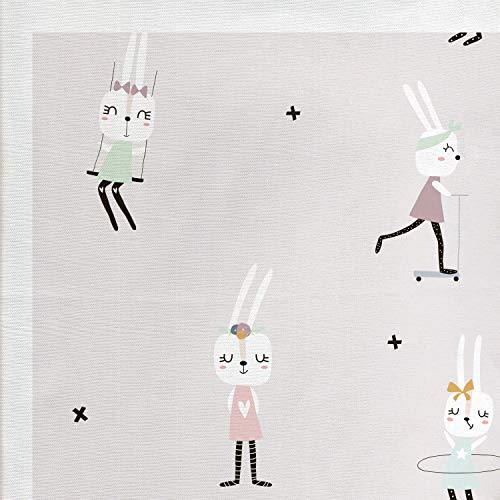 Lunarable Rabbit Fabric by The Yard, Cute Bunny Girls for sale  Delivered anywhere in USA