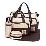 Baby diaper bag Multi function Baby Boom Travel Diaper Tote Bag Handbag with changing pad, 5 pcs./set (Coffee)