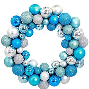Weite Luxury 14 inches Shatterproof Christmas Balls Wreath - Brightens Front Door Decor with Rich Colors - Indoor Outdoor Wall Hanging Garland Ornaments Home Xmas Tree Decorations 27