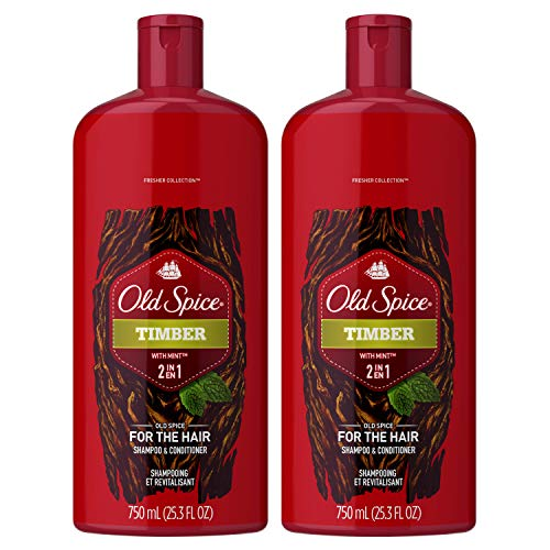 Old Spice Timber with Sandalwood Men's 2 in 1 Refreshing Shampoo & Conditioner, 25.3 fl oz Twin Pack [Packaging may vary]