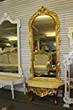 7 Ft French Wall Stand Gold Mirror with Marble Top