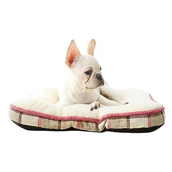 Bwiv Cojín para Perros Cama Cómodo Cuadrado Lino a Cuadros Simple Calinte Mascotas para Descanso Interior