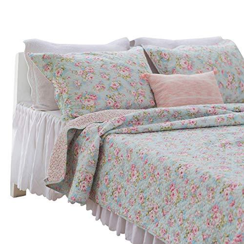 - Brandream Romantic Rose Floral Bedding Set Girls Quilt Set Full Size