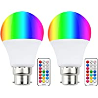 Colour Changing RGB B22 Dimmable LED Bulb 10W, RGB + Warm White, 12 Color, Memory & Timing Function, Bayonet RGBW Coloured LED Light Bulbs for Home/Decoration/Bar/Party/KTV/Mood Lighting (2 Set)