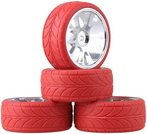 Mxfansシルバーアルミ合金10スポークホイールリム+赤矢印パターンラバータイヤfor rc1: 10On Road Ca