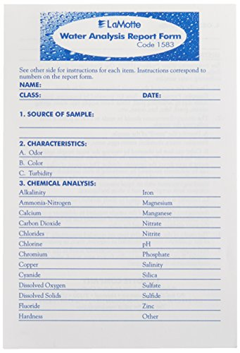 LaMotte 1583 Pad of Water Analysis Report Forms, 25 Forms per Pad