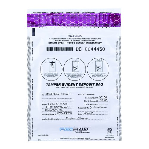 MMF Industries FREEZFraud Deposit Bags, 9 x 12 Inches, 100 Bags Per Pack, White (236210306)