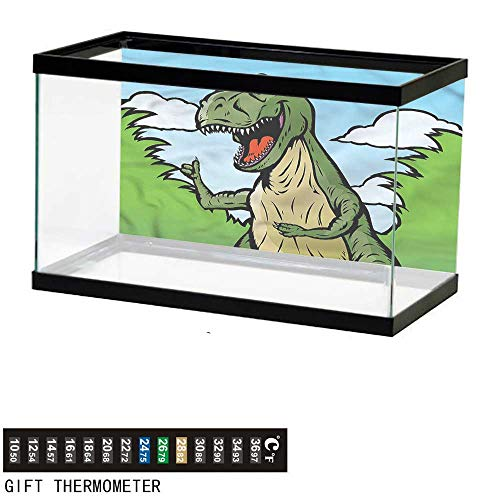 (bybyhome Fish Tank Backdrop Dinosaur,Cartoon T-Rex Funny,Aquarium Background,36