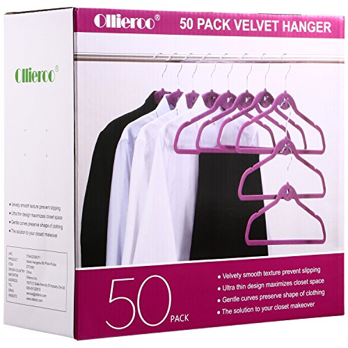 Ollieroo 50PK Cascading Velvet Hanger Set with 360° Swivel Chrome Hooks Suit Hangers for Dry Clothes Only (Purple)