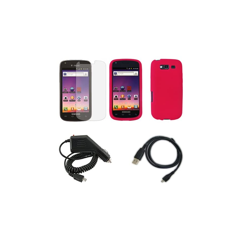 4G T769 Combo Solid Hot Pink Silicon Skin Case Faceplate Cover + LCD