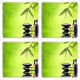 MSD Square Coasters Non-Slip Natural Rubber Desk Coasters design 20152525 Essence oil zen stone and calamansi in spa concept