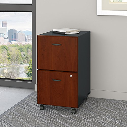 Series A 2 Drawer Mobile File Cabinet in Hansen Cherry and Galaxy (Drawer Extension Full Storage)
