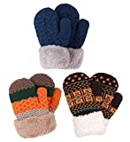 Kids Winter Warm 3 Pairs Sherpa Lined Knitted Gloves Boys Girls Mittens