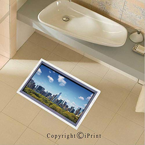Floor Sticker PVC Decorative Manhattan Skyline with Central Park in New York City Midtown High Rise Buildings Wall Decal Wall Sticker Decor Party Supplies Home Decoration,35.4
