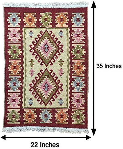 Turkish – Moroccan Modern Bohemian Multicolored Distressed Area Kilim Rug – Travel Gear – Outfitters – Use for Both Outdoor and Indoor 22 X 35