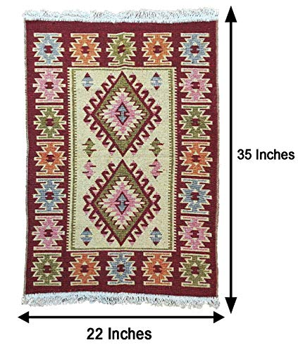 Turkish - Moroccan Modern Bohemian Multicolored Distressed Area & Kilim Rug - Travel Gear - Outfitters - Use for Both Outdoor and Indoor (22' X ()