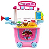 the ice cream stand - Toysey Pretend Play Ice Cream Trolley Shop Toy Set Educational Puzzle Toy for Kids, Boys , Girls, Child Gift 31pcs/Set