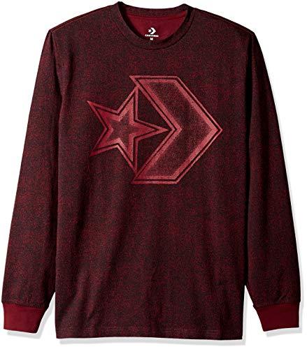 Converse Men's Distressed Star Chevron Long Sleeve T-Shirt, Dark Burgundy, M