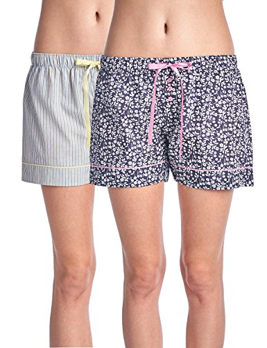 Casual Nights Women's 2 Pack Cotton Woven Lounge Boxer Shorts - Floral/Stripe 34 - Large