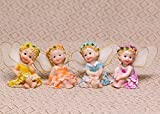 Tonsiki Resin Fairy Garden Ornament Home & Outdoor Decor Cute and Lovely Sitting Flower Fairies 4pcs Set