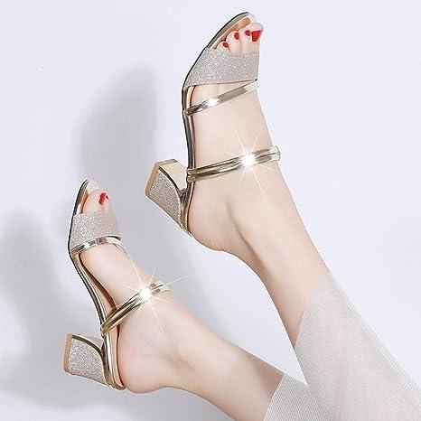 Zapatos Piel Mujer Hechos EN ESPAÑA. Sandalias Tacón Mujer,Hebilla de un toque con zapatos de plataforma de tacón alto con fondo de muffin sandalias planas de playa con puntera abierta,Gold,35,Ad: Amazon.es: Deportes