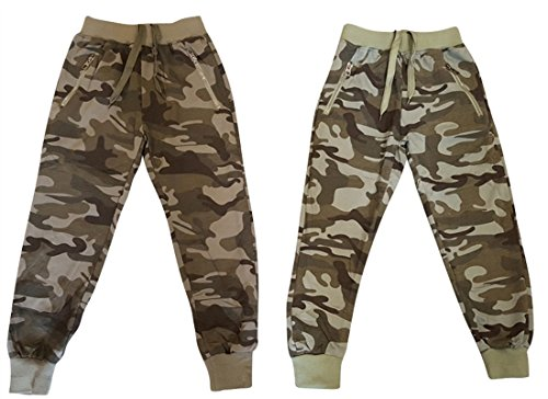 Hello Boy - Jungen Jogginghose in Camouflage - Khaki Farben / Army Look, Navy Look - 2x Farbauswahl in 6x Größenauswahl für jedes Kinderalter, (122-128, 1x Camouflage Dunkel)