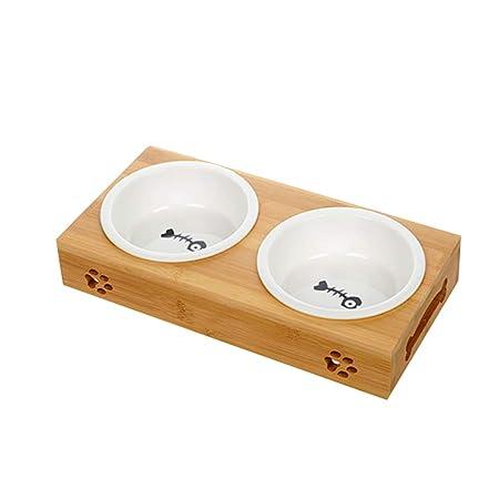 Cuenco doble para gato, cuenco de arroz, comedero para gatos ...