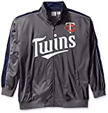 MLB Minnesota Twins Men's Team Reflective Tricot Track Jacket, 3X/Tall, Charcoal/Navy