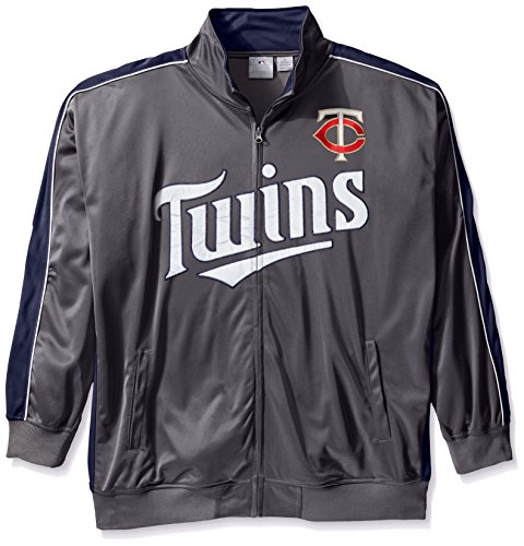 Minnesota Twins Mens Jackets - MLB Minnesota Twins Men's Team Reflective Tricot Track Jacket, 3X/Tall, Charcoal/Navy