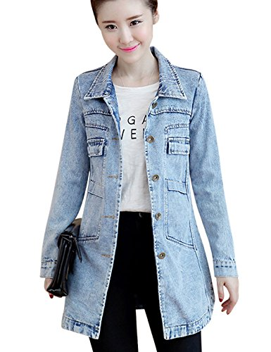 Tanming Women's Button Front Mid Long Denim Jean Jacket Coat (Large, Blue)