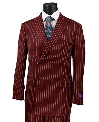 (VINCI Men's Gangster Pinstriped Double Breasted 6 Button Classic-Fit Suit Burgundy | Size: 42 Regular / 36 Waist)