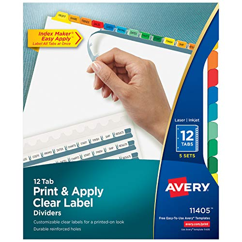 Avery Print & Apply Clear Label Tab Dividers, Index Maker, 12-Tab Divider Set, 5 sets, Multicolor Tabs (11405) ()