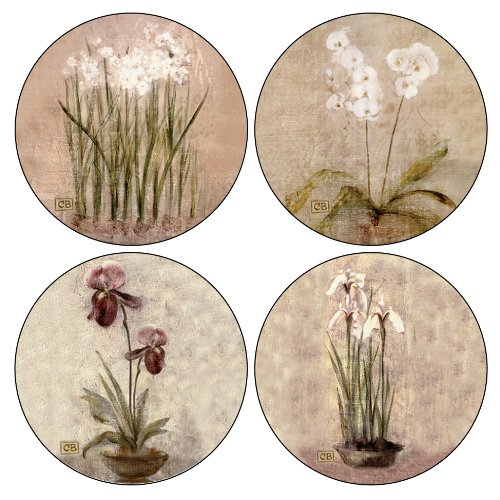 CoasterStone AS465 Subtle Flowers Absorbent Coasters, 4-1/4-Inch, Set of 4 ()