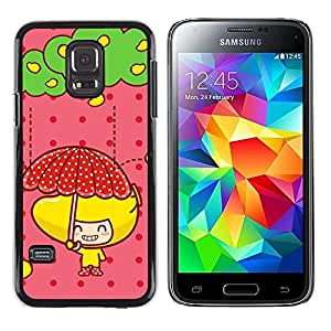 Caucho caso de Shell duro de la cubierta de accesorios de protección BY RAYDREAMMM - Samsung Galaxy S5 Mini, SM-G800 - Cute Fruit Girl