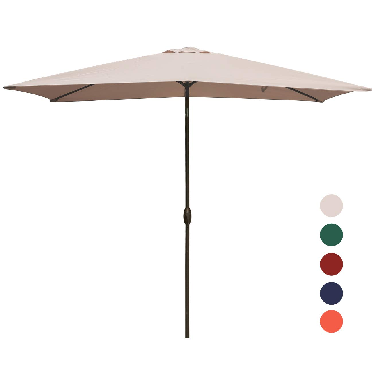 KINGYES Rectangular Patio Table Umbrella Garden Umbrella with Tilt and Crank for Outdoor, Beach Commercial Event Market, Camping, Swimming Pool (6.6 by 9.8 Ft, Beige) by KINGYES