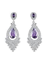 Ever Faith Tear Drop Earrings Cubic Zirconia Crystal