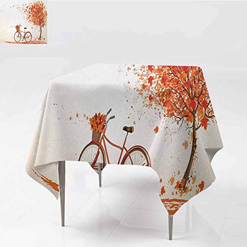 Square Table Cloth,Bicycle Autumn Tree with Aged Old