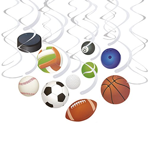 (30-Count Swirl Decorations - Ball Party Decorations, Sports-Themed Party Streamers, Football, Basketball, Baseball-Style Hanging Decor, 10 Assorted Designs - Hanging Length: 34.25 to 36.25 Inches)