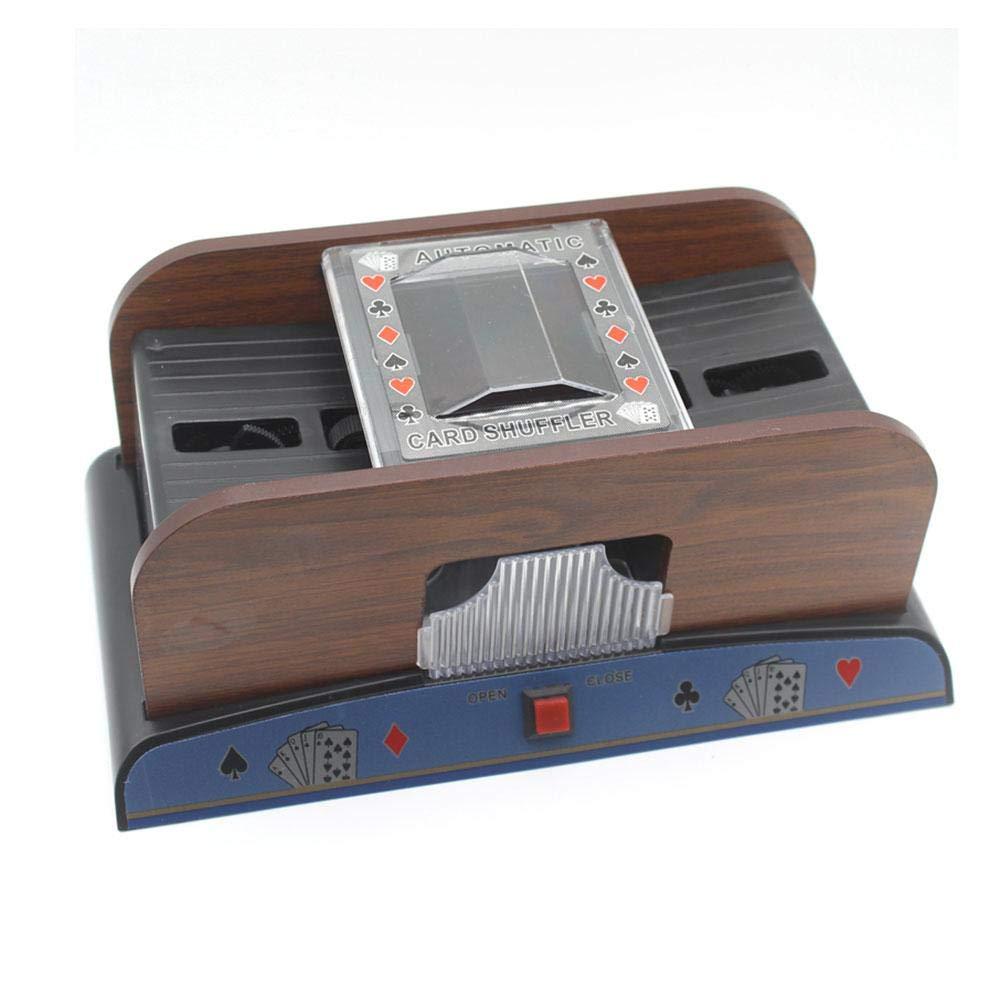 TUANMEIFADONGJI geeignet fü r die Erholungszeit Shuffling Automatik Shuffling Maschine Holzgehä use hochwertige Optik bessere Qualitä t Karten-Shuffler