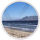 Pixels Round Beach Towel With Tassels featuring ''Sea With Table Mountain'' by Pixels