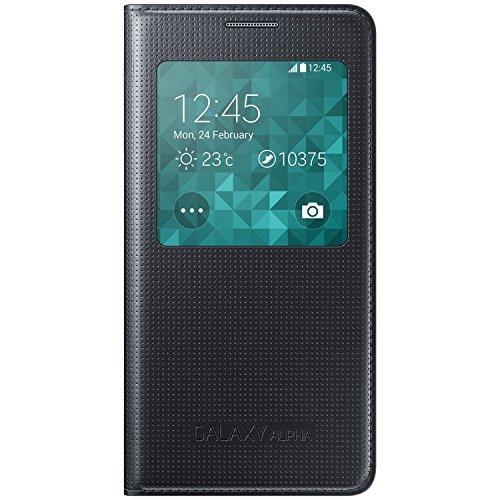 Cheap Cases Galaxy Alpha Samsung S-View Case Cover EF-CG850B [Black] - Retail Packaging
